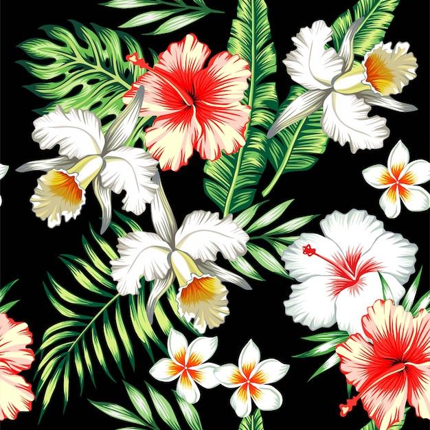 Fundo sem emenda tropical de hibisco e orquídeas