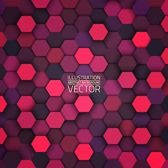 Fundo sextavado abstrato vector 3d