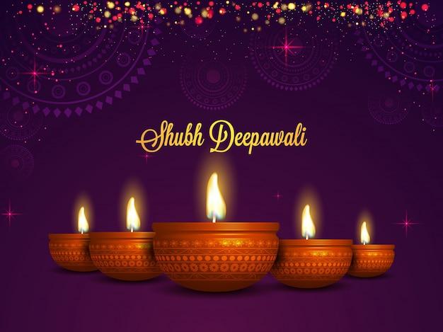 Fundo shubh deepawali com lâmpadas de óleo realistas.
