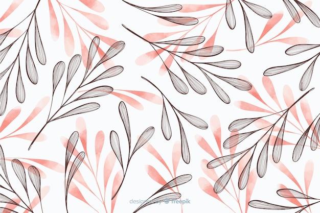 Fundo simplista com folhas de mão desenhada