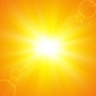 Fundo solar de verão. os raios de sol que se espalham do centro no verão.