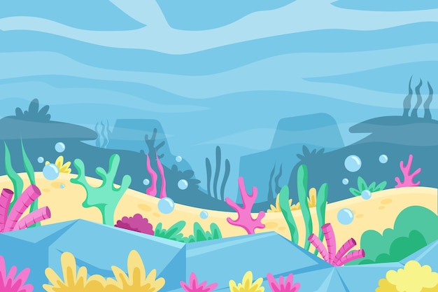 Fundo subaquático com algas marinhas