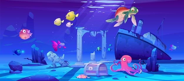 Fundo subaquático com peixes do oceano, navio afundado e ruínas.