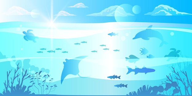 Fundo subaquático de verão em design plano