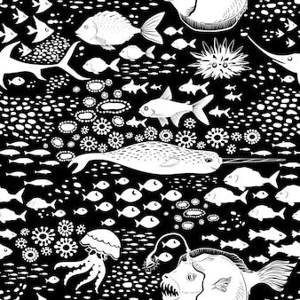 Fundo subaquático dos desenhos animados sem costura doodle.