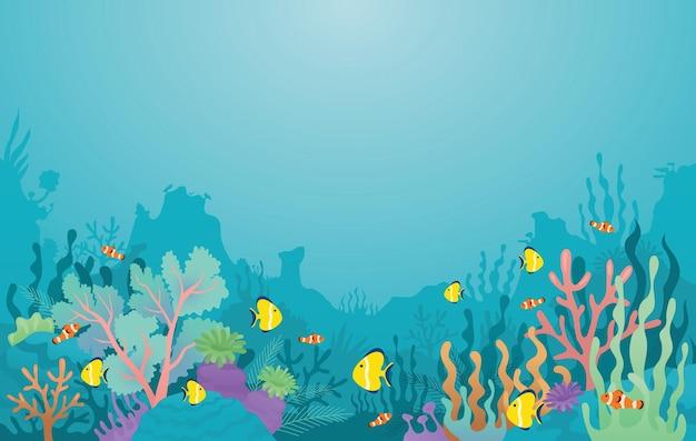 Fundo subaquático, recife de coral, anêmona-do-mar e peixes