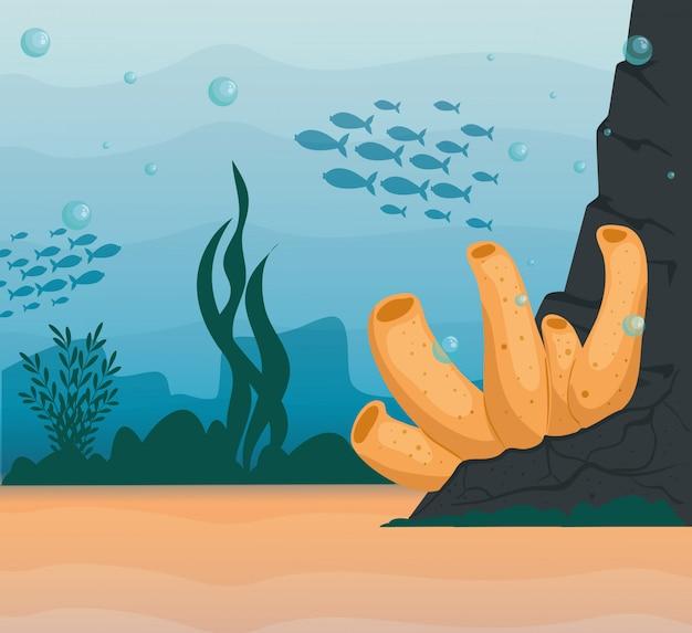 Fundo subaquático, recife de coral submarino, cena de peixes do oceano e algas marinhas, conceito de habitat marinho