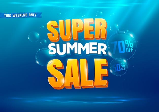 Fundo super da venda do verão com ilustração do mar.
