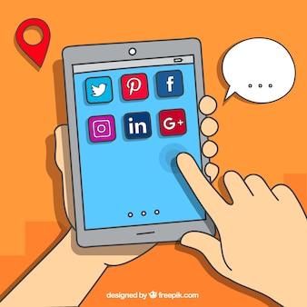 Fundo tablet com ícones de redes sociais