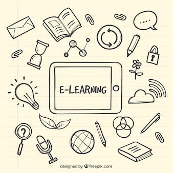 Fundo tablet com itens de aprendizagem desenhados à mão