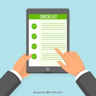 Fundo tablet com lista de verificação