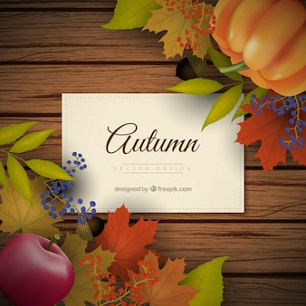 Fundo tábuas de madeira com decoração do outono no estilo realista