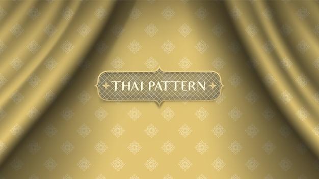 Fundo tailandês tradicional abstrato da flor na cortina dourada da onda.