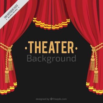 Fundo teatro plano com cortinas vermelhas