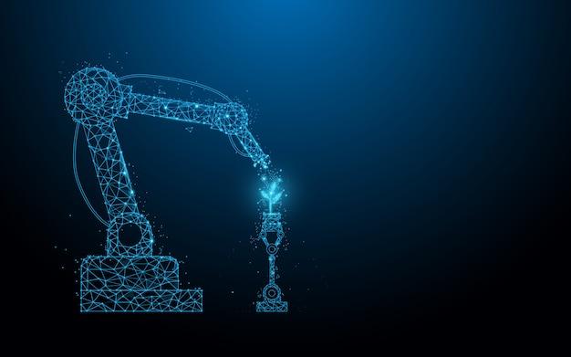 Fundo tecnologia de agricultores robóticos inteligentes. químico de spray robotizado. linhas, triângulos e design de estilo de partículas.