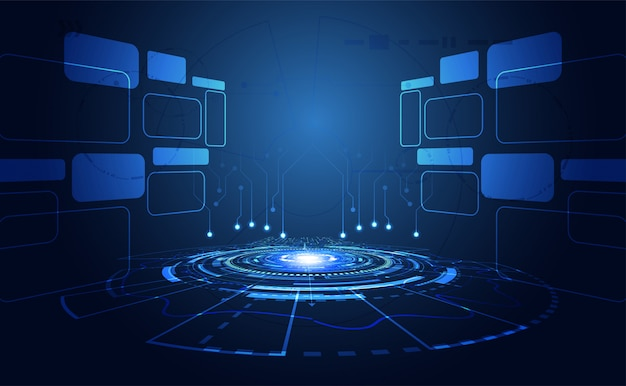 Fundo tecnológico brilhante azul