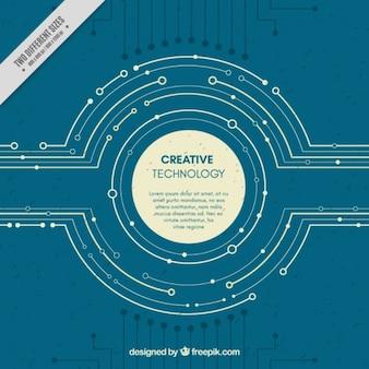 Fundo tecnológico com circuitos circulares