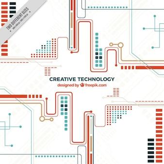 Fundo tecnológico com circuitos de vermelho e azul