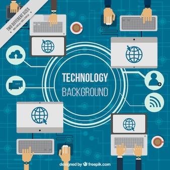 Fundo tecnológico com computadores