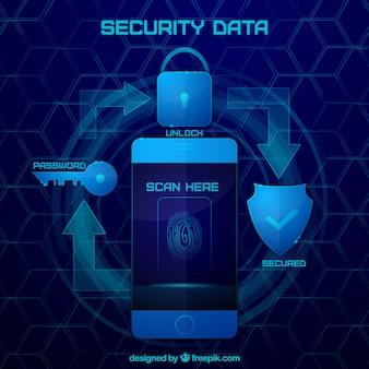 Fundo tecnológico com elementos de segurança