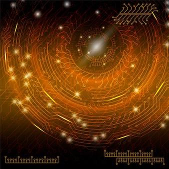 Fundo tecnológico digital abstrato laranja