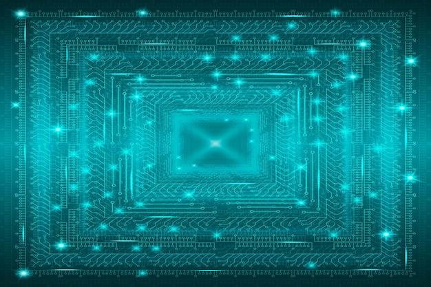 Fundo tecnológico futurista azul em design de arte digital de estilo cyberpunk de cartões postais poster b ...