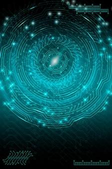 Fundo tecnológico futurista azul em estilo cyberpunk. arte digital. projeto de cartões postais, cartaz, banner. ilustração vetorial.