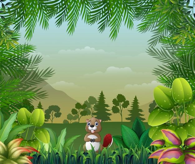 Fundo temático de selva com um castor