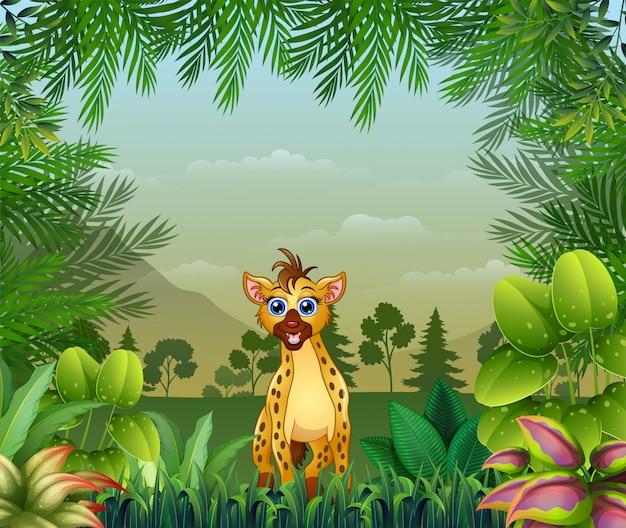 Fundo temático de selva com uma hiena