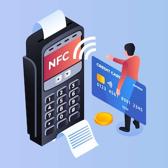 Fundo terminal do banco nfc pagamento, estilo isométrico
