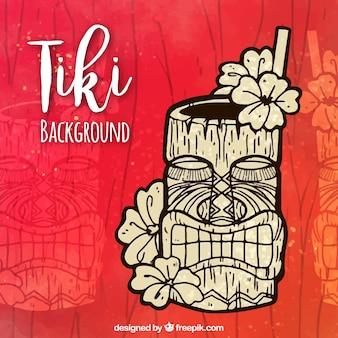 Fundo tiki desenhado à mão com cocktail tropical
