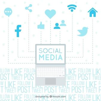Fundo tipográfico com elementos de redes sociais
