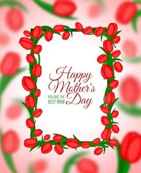 Fundo tipográfico de mães felizes com moldura de flores de tulipas de primavera