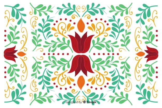 Fundo tradicional bordado mexicano