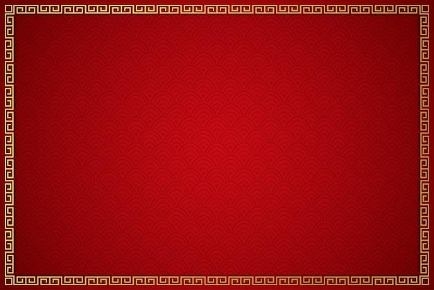 Fundo tradicional chinesa com moldura dourada