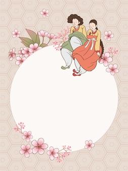 Fundo tradicional com mulheres usando hanbok. moldura redonda e decorações de flores.