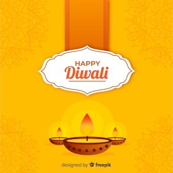 Fundo tradicional de diwali com design plano