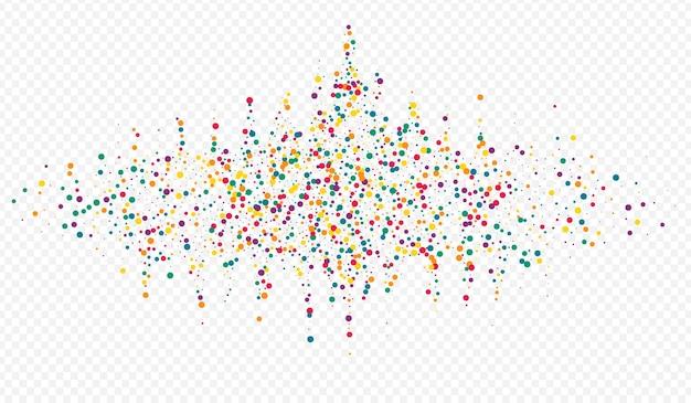 Fundo transparente da decoração do confete laranja. convite pó divertido. ilustração redonda feliz. padrão de efeito de ponto de arco-íris.