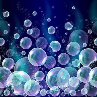 Fundo transparente das bolhas do sabão 3d.