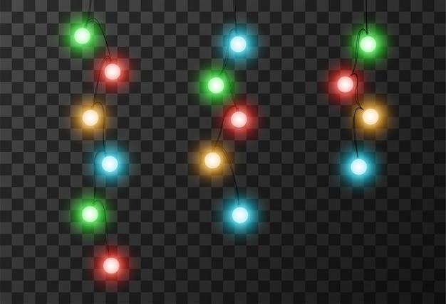 Fundo transparente de luzes de natal