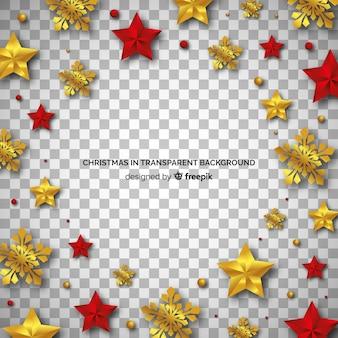 Fundo transparente de ornamentos de ouro e vermelho de natal