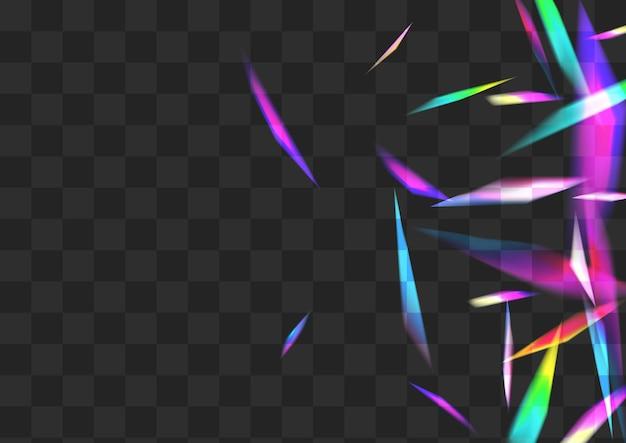 Fundo transparente do vetor do brilho do cristal. papel de parede de folha metálica iridescente. brochura de natal light glitter. banner de falha do efeito arco-íris.