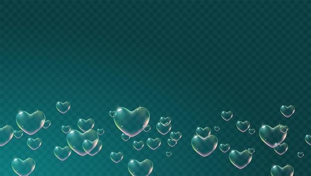 Fundo transparente escuro com bolhas de sabão em forma de coração coloridas para vetor de cartão de dia dos namorados