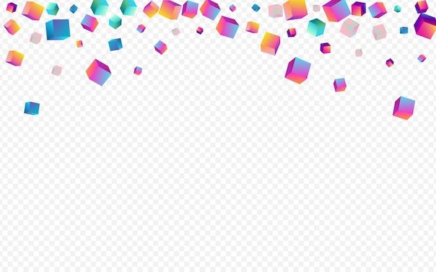 Fundo transparente holográfico do vetor do elemento. folheto do cubo geométrico iridescente. apresentação em caixa de metal. imagem de estilo losango multicolorido.