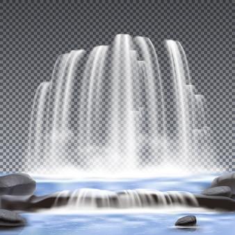 Fundo transparente realista de cachoeiras
