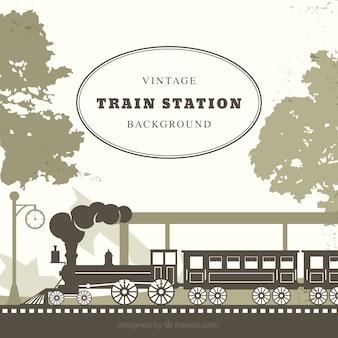 Fundo, trem, estação, retro, estilo