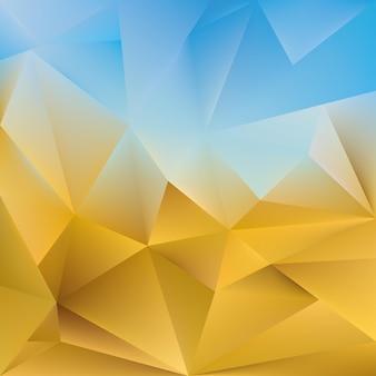 Fundo triangular abstrato. ilustração vetorial cor azul e amarela