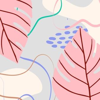 Fundo tropical abstrato com formas geométricas e folhas de palmeira em tons pastel. colagem moderna em azul, rosa, marrom para pôsteres. ilustração vetorial em design abstrato de estilo moderno e folha de monstera