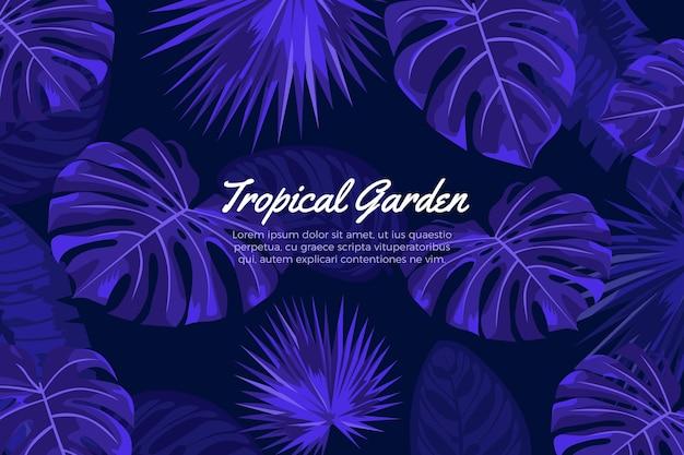 Fundo tropical azul realista folhas