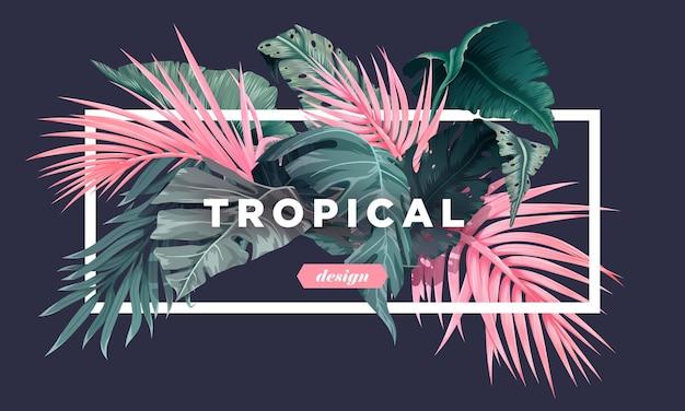 Fundo tropical brilhante com plantas da selva padrão exótico com folhas de palmeira. ilustração vetorial